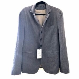 NEW ZARA MAN GRAY LINEN BLEND 4 BUTTON BLAZER 42